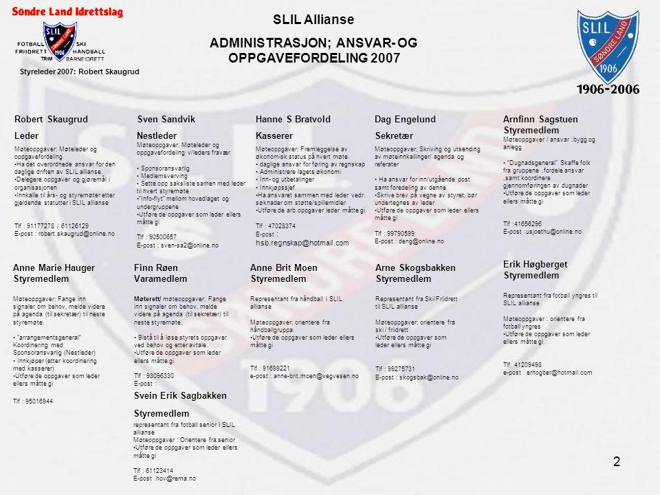 SLIL Allianse ADMINISTRASJON; ANSVAR- OG OPPGAVEFORDELING 2007