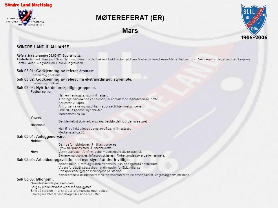 MØTEREFERAT (ER) Mars SØNDRE LAND IL ALLIANSE