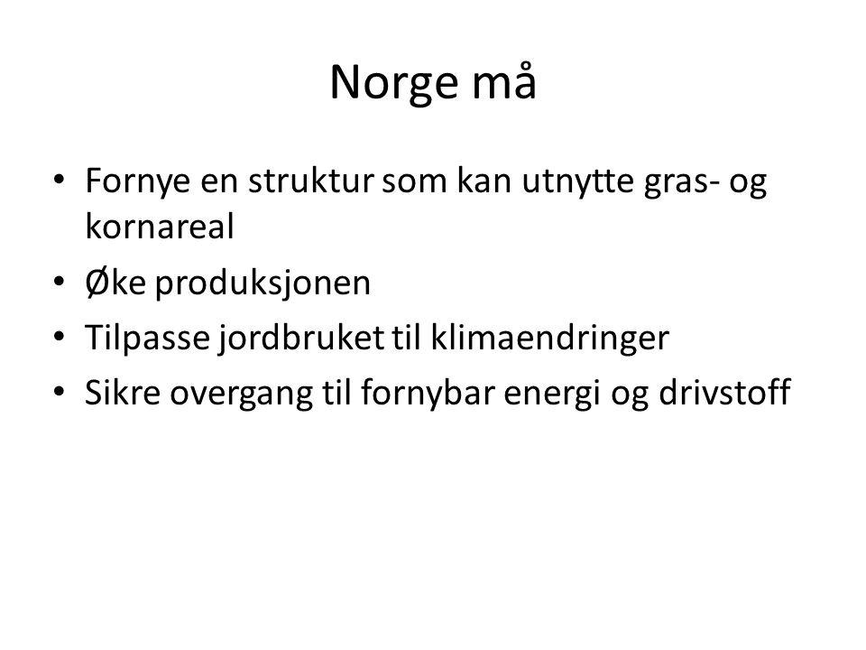 Norge må Fornye en struktur som kan utnytte gras- og kornareal