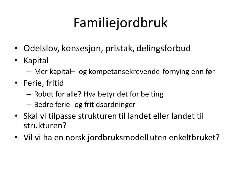 Familiejordbruk Odelslov, konsesjon, pristak, delingsforbud Kapital