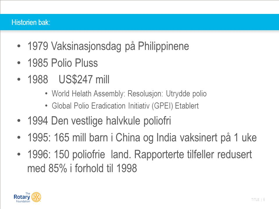 1979 Vaksinasjonsdag på Philippinene 1985 Polio Pluss 1988 US$247 mill
