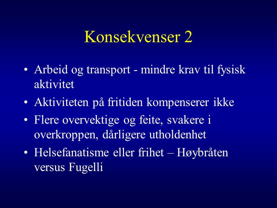 Konsekvenser 2 Arbeid og transport - mindre krav til fysisk aktivitet