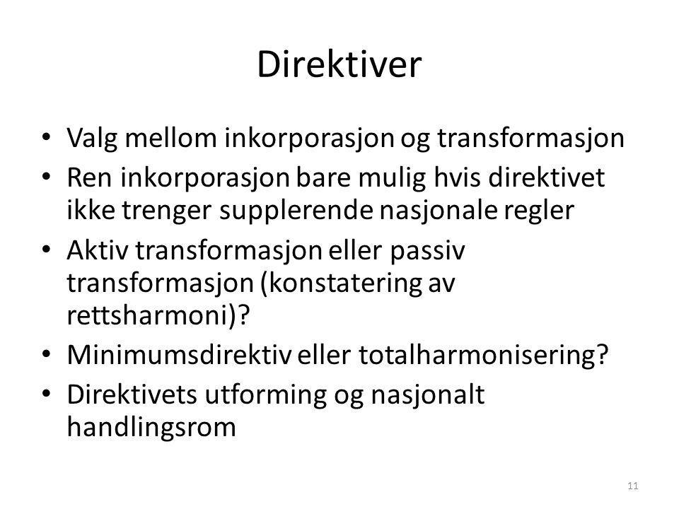 Direktiver Valg mellom inkorporasjon og transformasjon