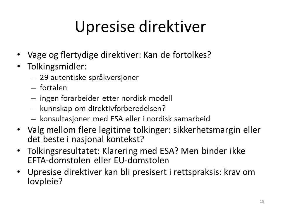 Upresise direktiver Vage og flertydige direktiver: Kan de fortolkes