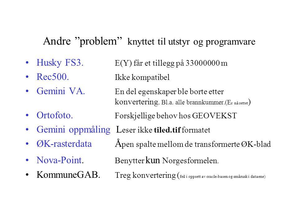 Andre problem knyttet til utstyr og programvare