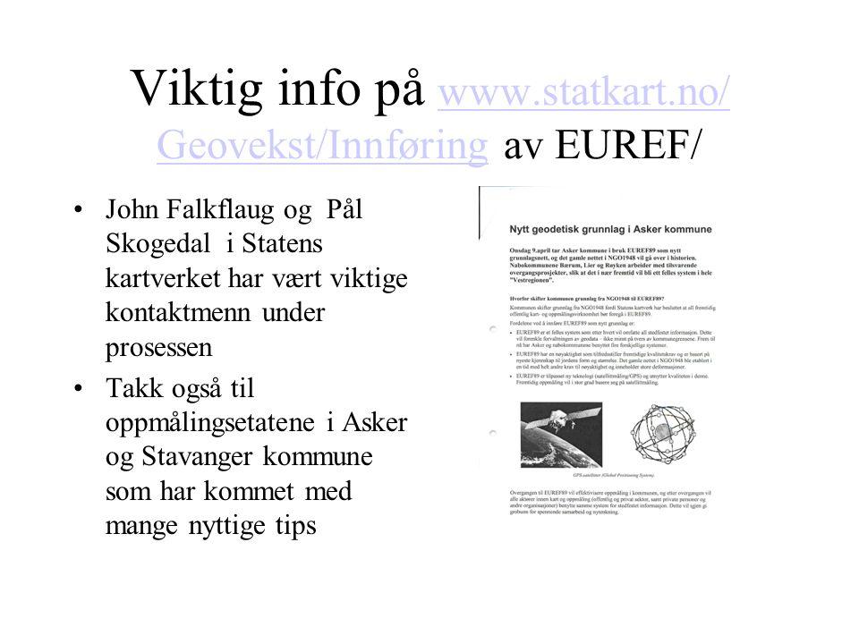 Viktig info på www.statkart.no/ Geovekst/Innføring av EUREF/
