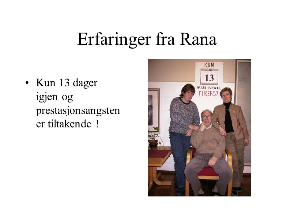 Erfaringer fra Rana Kun 13 dager igjen og prestasjonsangsten er tiltakende !
