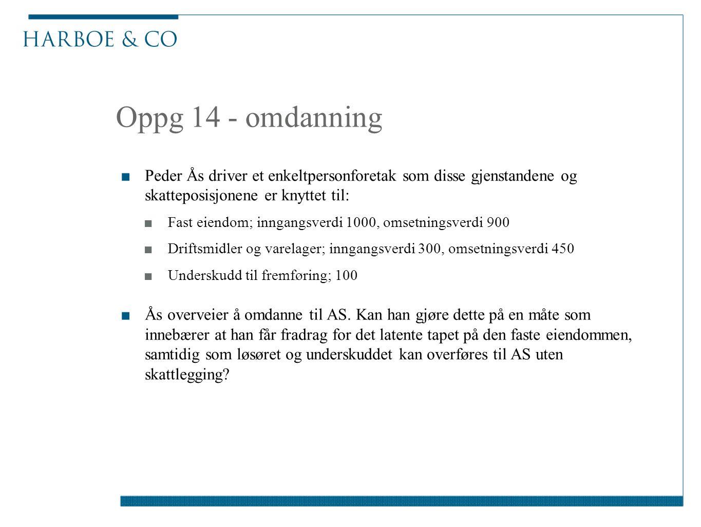 Oppg 14 - omdanning Peder Ås driver et enkeltpersonforetak som disse gjenstandene og skatteposisjonene er knyttet til: