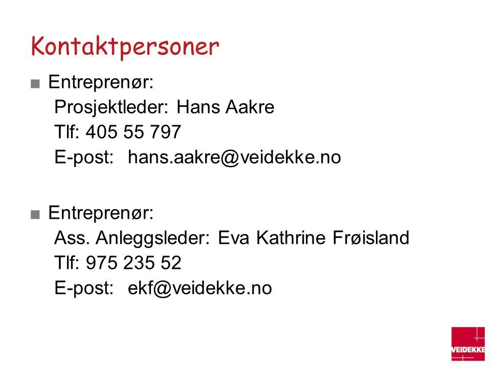 Kontaktpersoner Entreprenør: Prosjektleder: Hans Aakre Tlf: 405 55 797