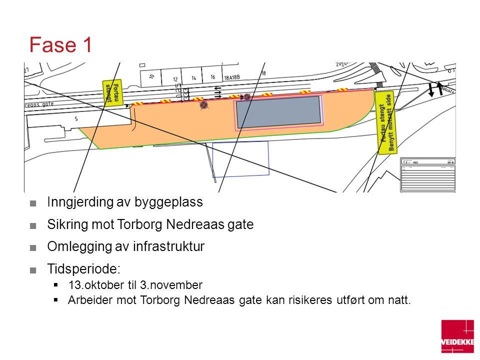 Fase 1 Inngjerding av byggeplass Sikring mot Torborg Nedreaas gate