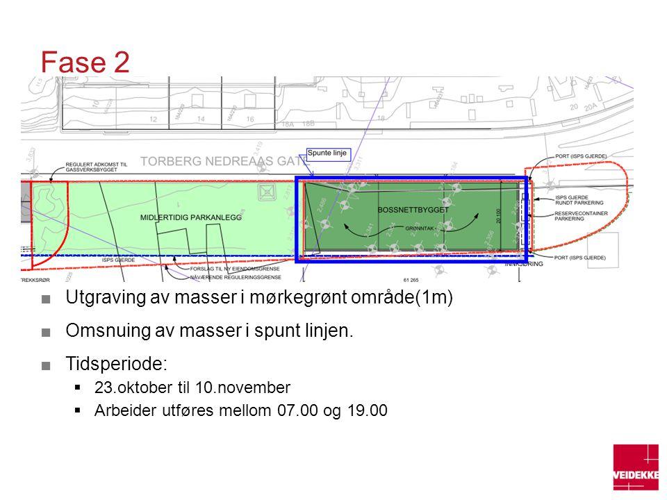 Fase 2 Utgraving av masser i mørkegrønt område(1m)