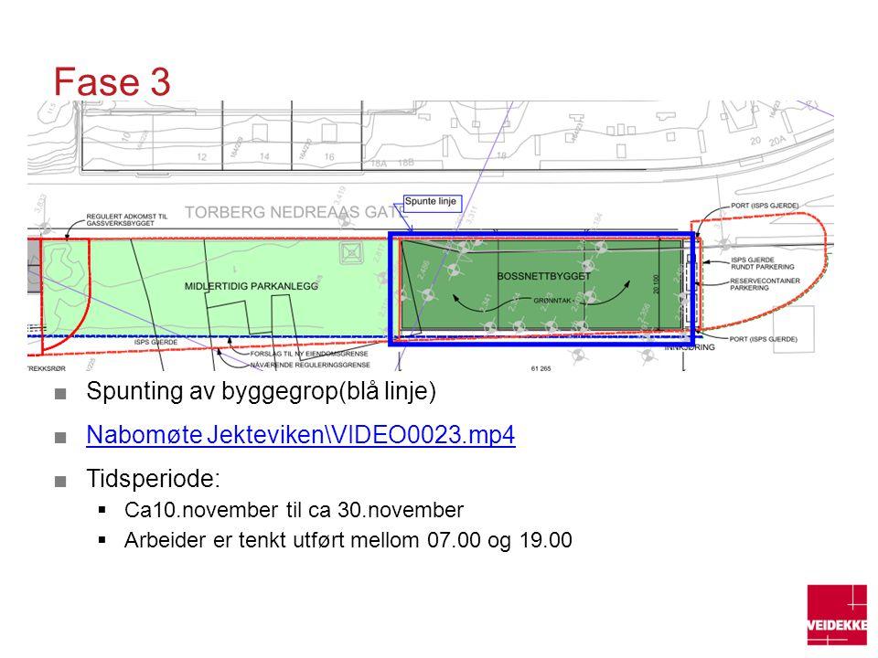 Fase 3 Spunting av byggegrop(blå linje)