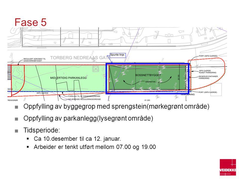 Fase 5 Oppfylling av byggegrop med sprengstein(mørkegrønt område)