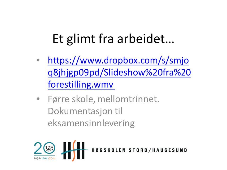 Et glimt fra arbeidet… https://www.dropbox.com/s/smjoq8jhjgp09pd/Slideshow%20fra%20forestilling.wmv