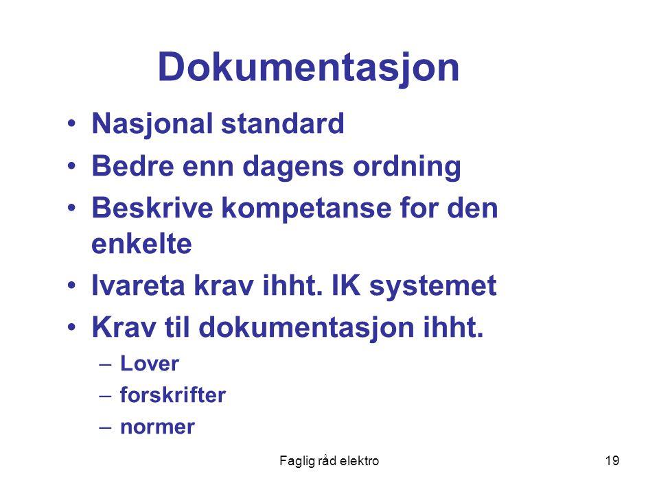 Dokumentasjon Nasjonal standard Bedre enn dagens ordning