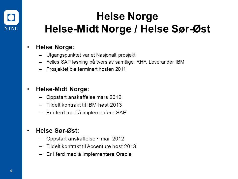 Helse Norge Helse-Midt Norge / Helse Sør-Øst