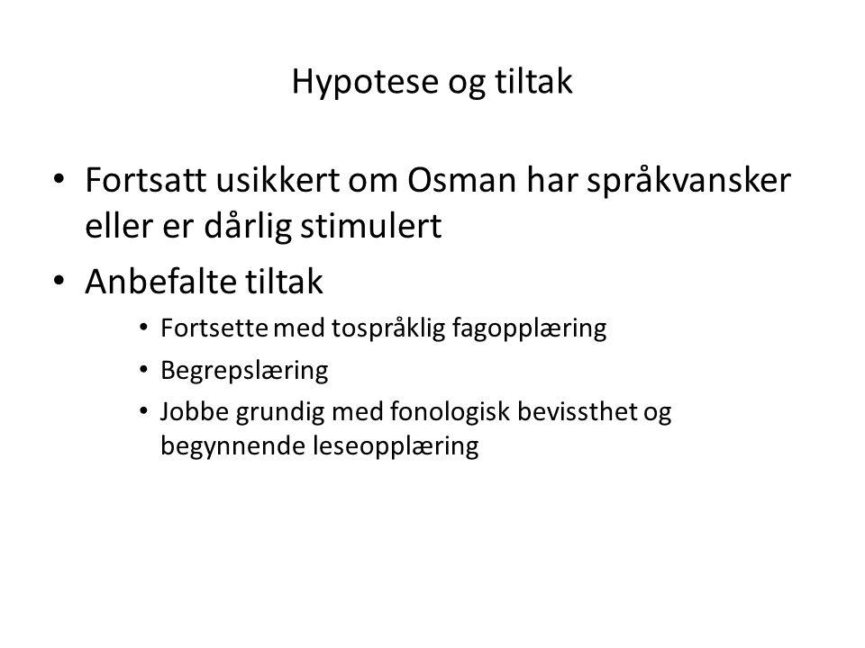 Fortsatt usikkert om Osman har språkvansker eller er dårlig stimulert