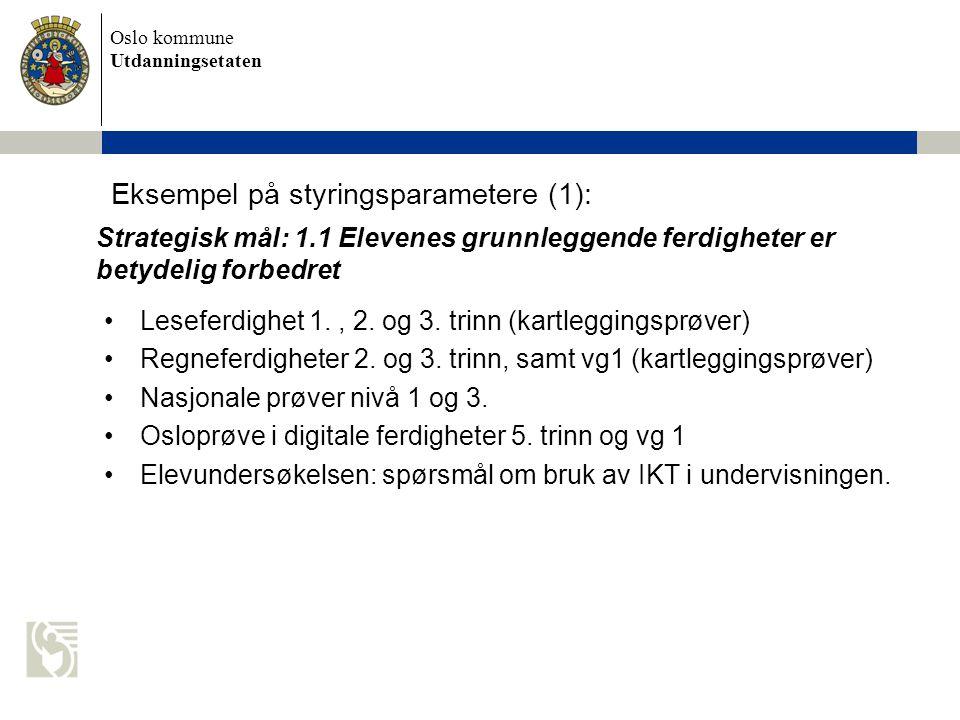 Eksempel på styringsparametere (1):