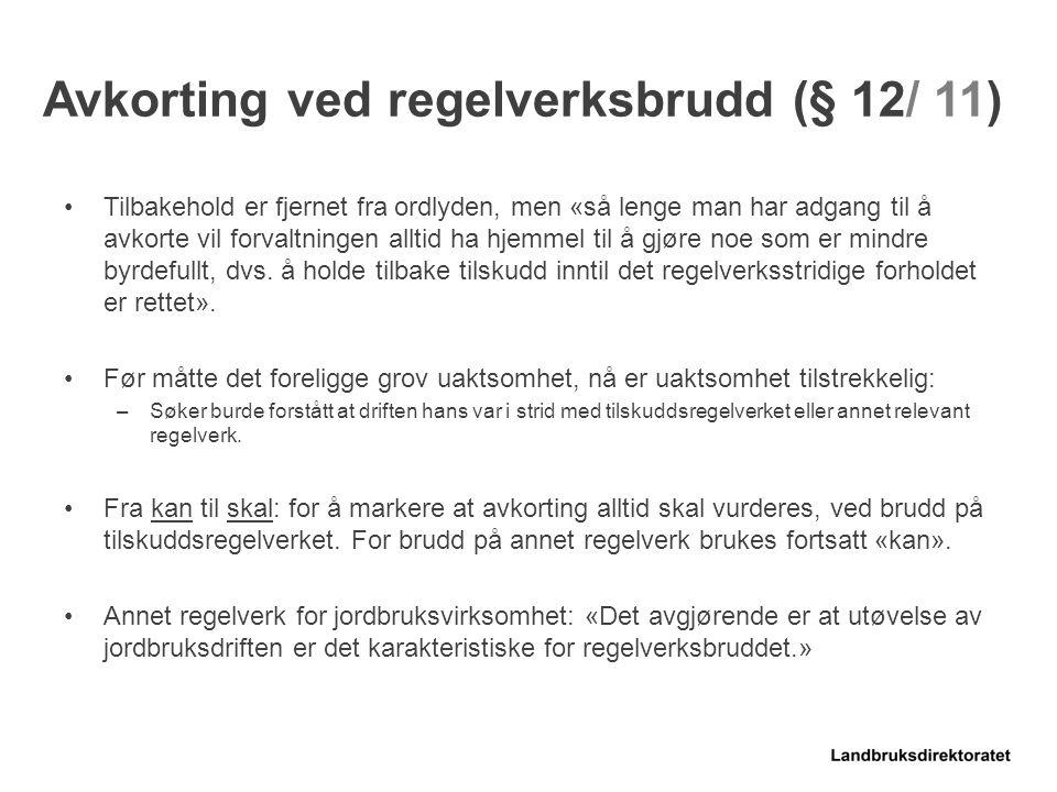 Avkorting ved regelverksbrudd (§ 12/ 11)