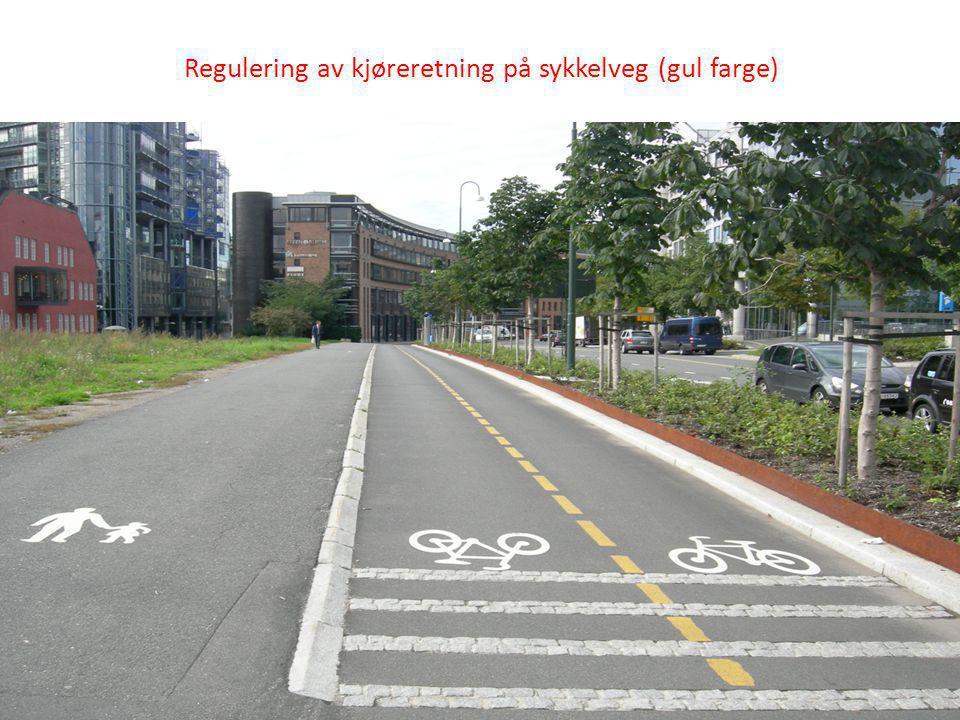 Regulering av kjøreretning på sykkelveg (gul farge)
