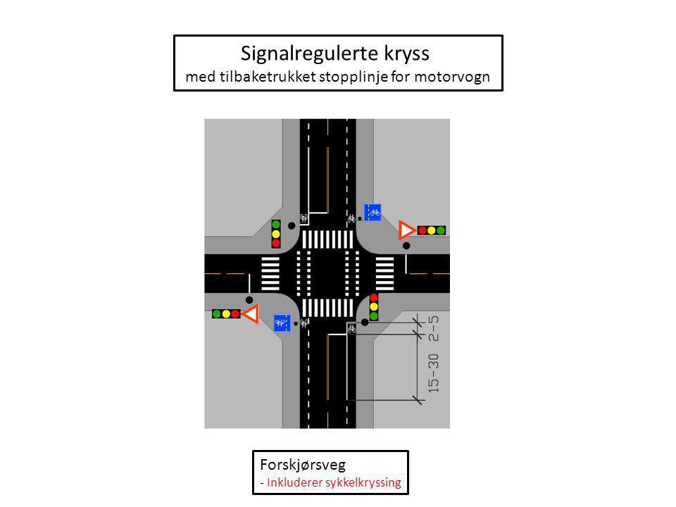 Signalregulerte kryss med tilbaketrukket stopplinje for motorvogn