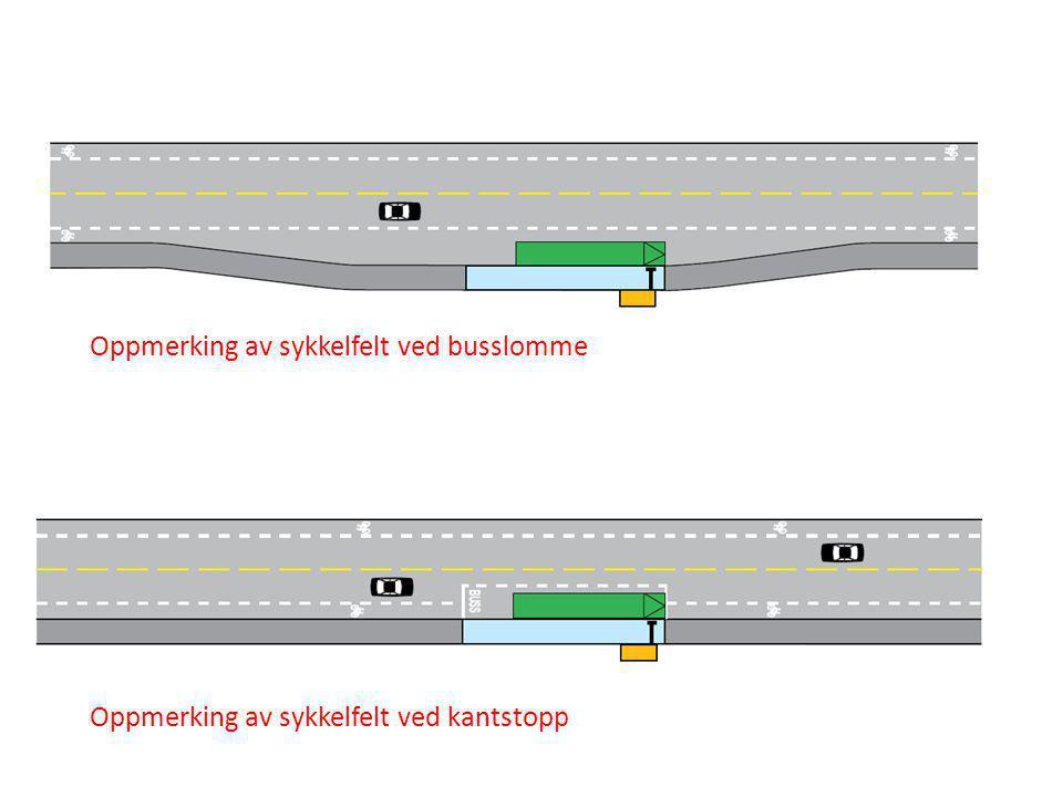 Oppmerking av sykkelfelt ved busslomme