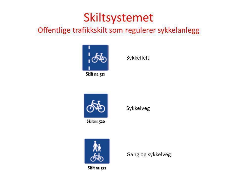 Skiltsystemet Offentlige trafikkskilt som regulerer sykkelanlegg