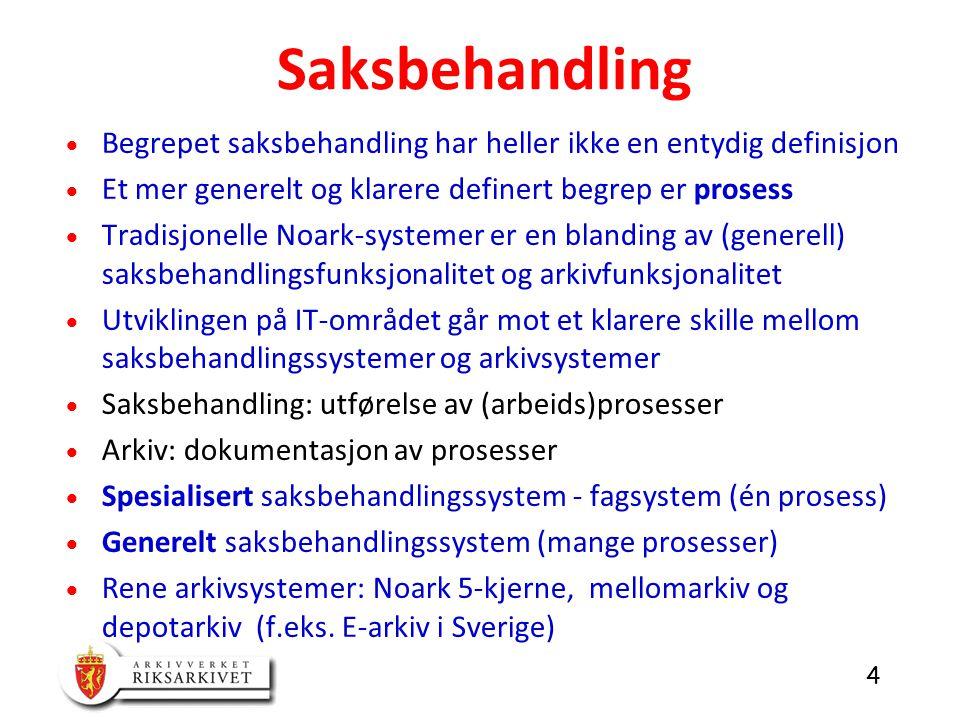 Saksbehandling Begrepet saksbehandling har heller ikke en entydig definisjon. Et mer generelt og klarere definert begrep er prosess.