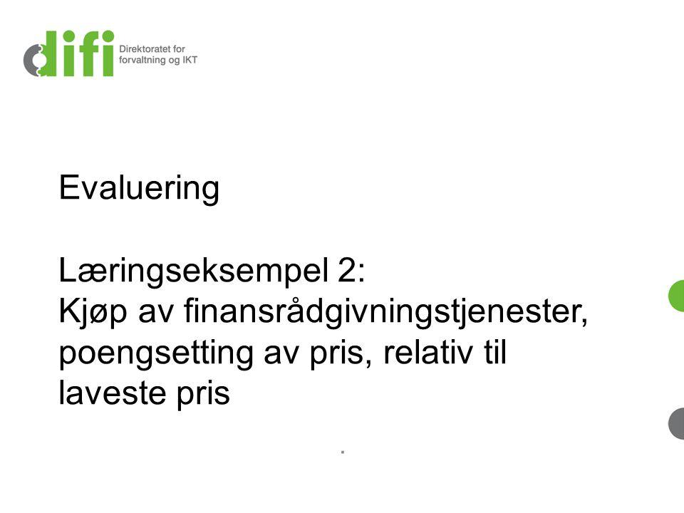 Evaluering Læringseksempel 2: Kjøp av finansrådgivningstjenester, poengsetting av pris, relativ til laveste pris
