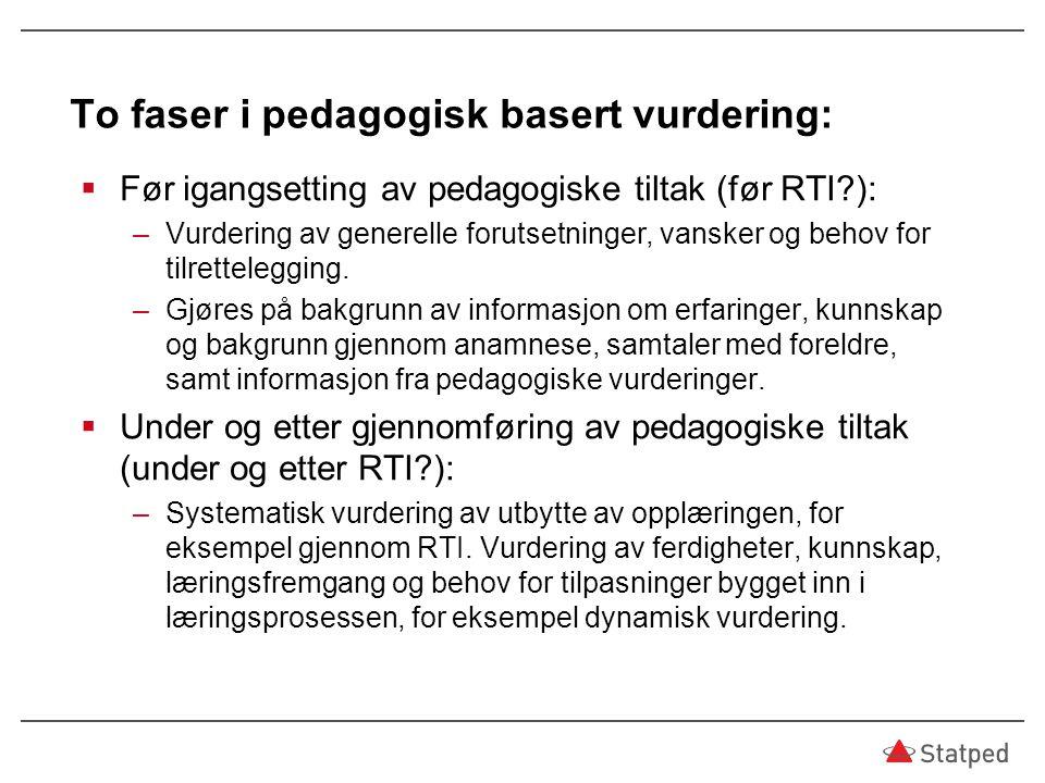 To faser i pedagogisk basert vurdering: