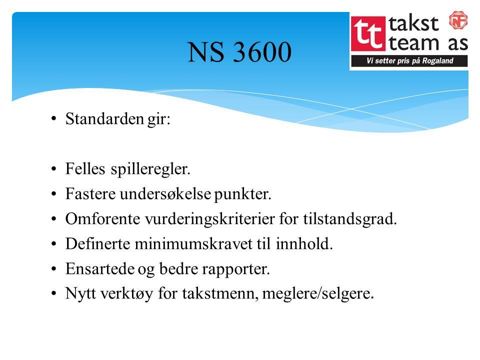 NS 3600 Standarden gir: Felles spilleregler.