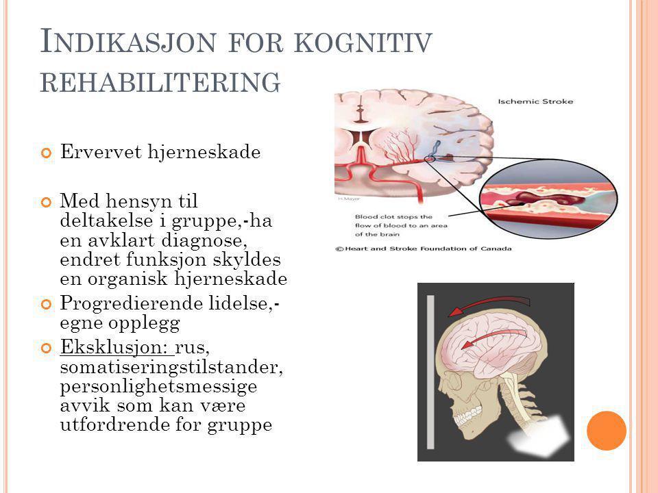 Indikasjon for kognitiv rehabilitering