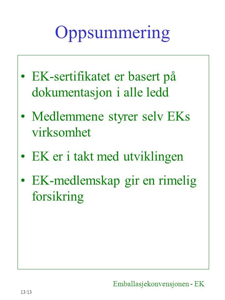 Oppsummering EK-sertifikatet er basert på dokumentasjon i alle ledd