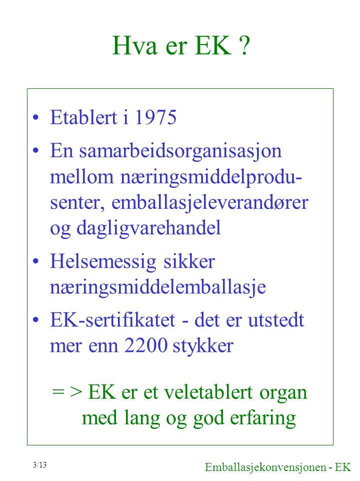 Hva er EK Etablert i 1975. En samarbeidsorganisasjon mellom næringsmiddelprodu-senter, emballasjeleverandører og dagligvarehandel.