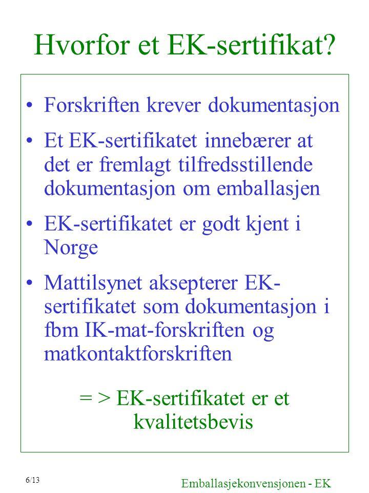 Hvorfor et EK-sertifikat
