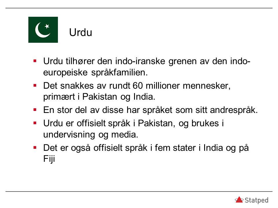 Urdu Urdu tilhører den indo-iranske grenen av den indo-europeiske språkfamilien.