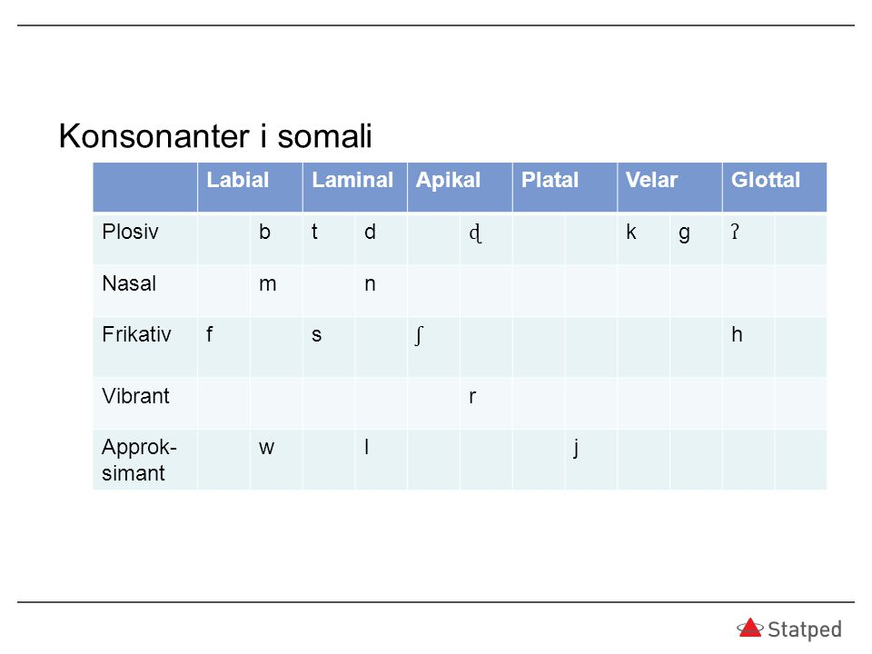 Konsonanter i somali Labial Laminal Apikal Platal Velar Glottal Plosiv