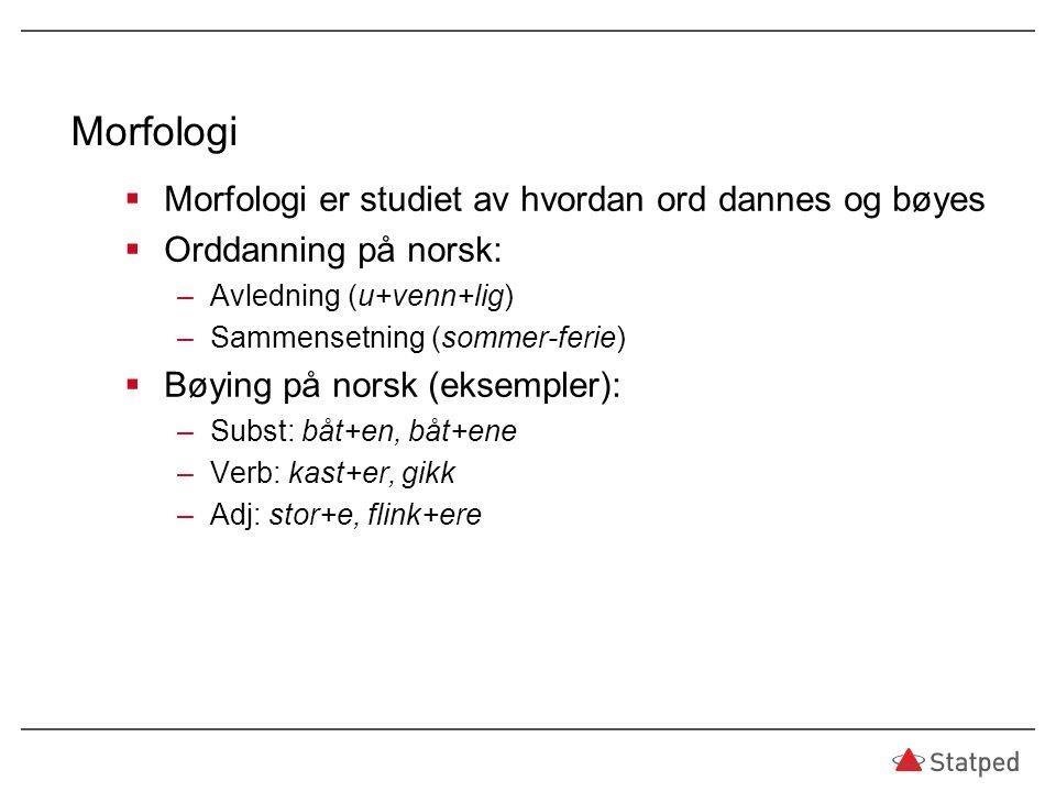 Morfologi Morfologi er studiet av hvordan ord dannes og bøyes