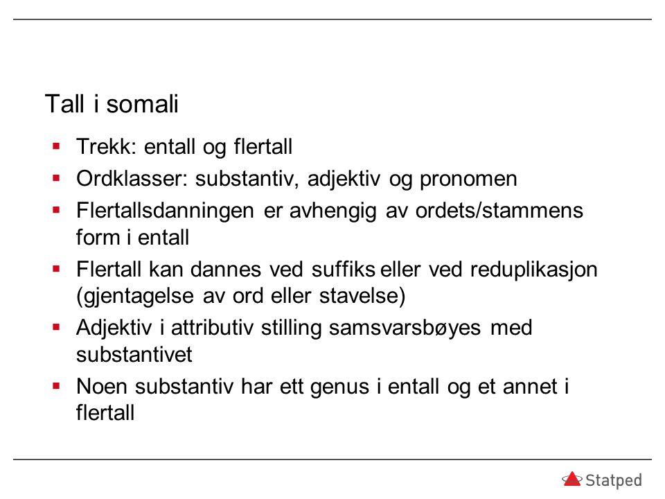 Tall i somali Trekk: entall og flertall