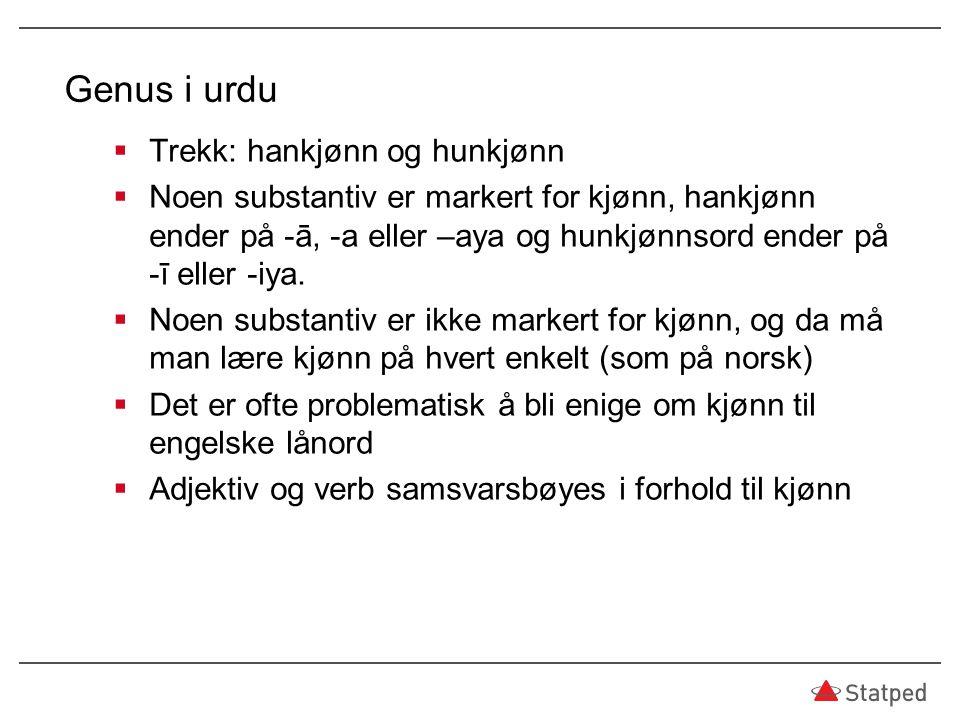 Genus i urdu Trekk: hankjønn og hunkjønn