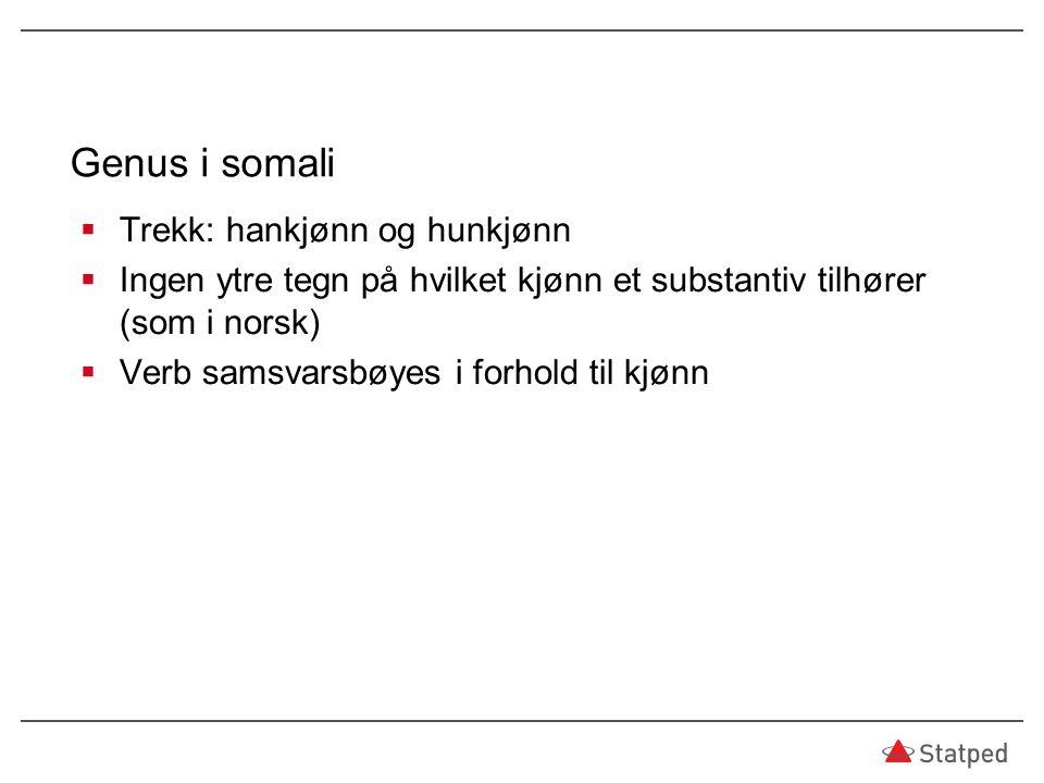 Genus i somali Trekk: hankjønn og hunkjønn