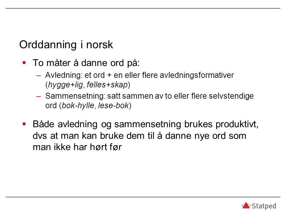 Orddanning i norsk To måter å danne ord på: