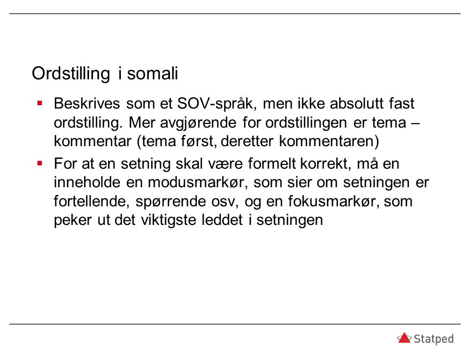 Ordstilling i somali