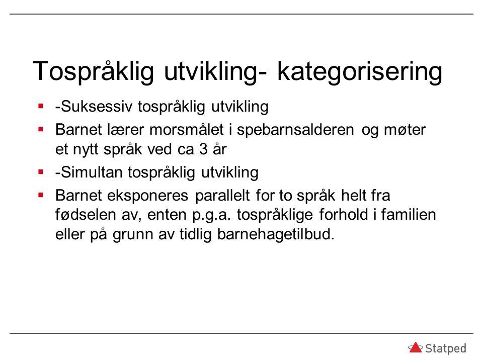 Tospråklig utvikling- kategorisering