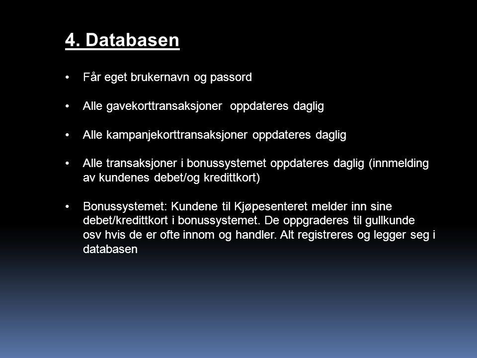 4. Databasen Får eget brukernavn og passord
