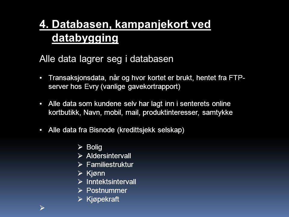 4. Databasen, kampanjekort ved databygging