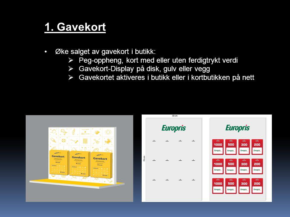1. Gavekort Øke salget av gavekort i butikk: