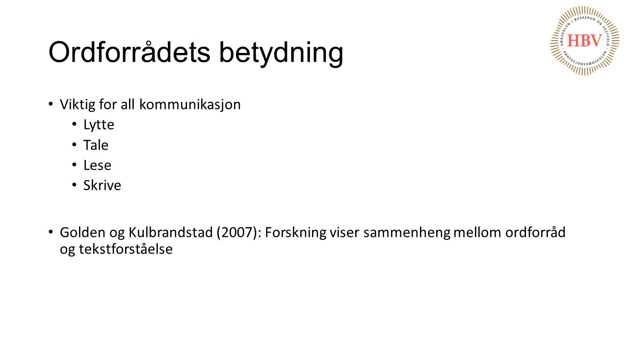 Ordforrådets betydning