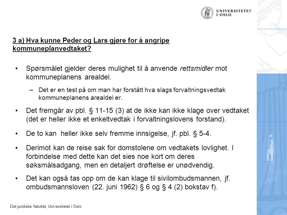 3 a) Hva kunne Peder og Lars gjøre for å angripe kommuneplanvedtaket