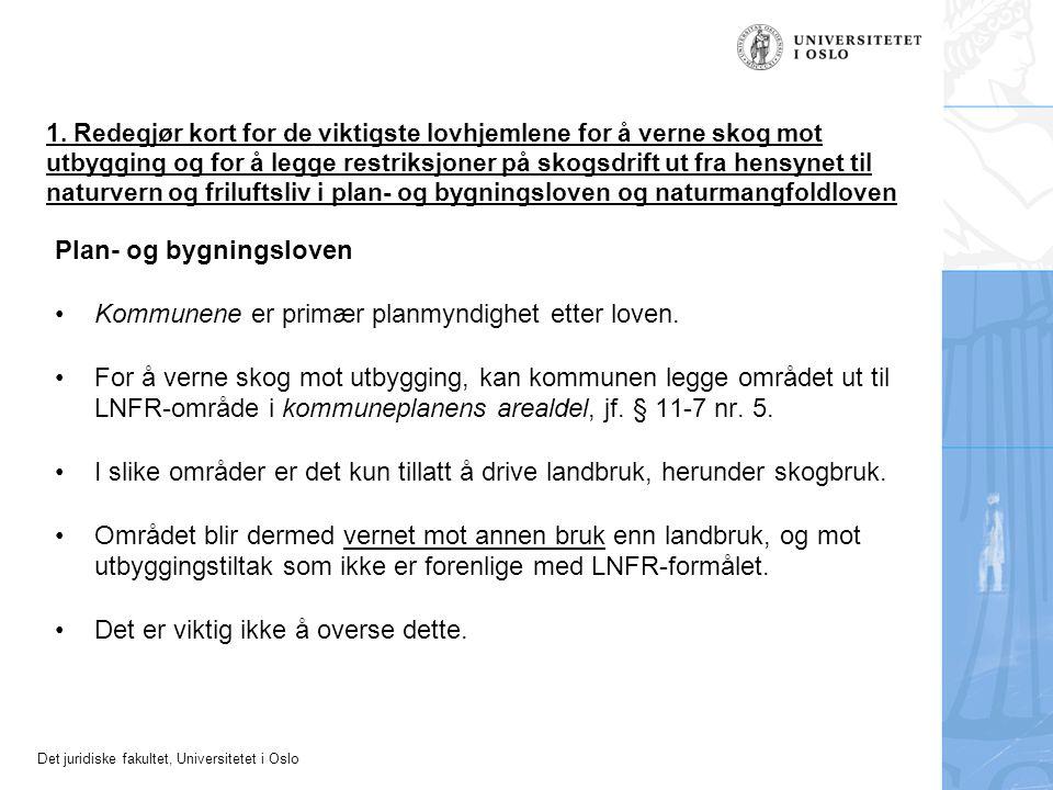Plan- og bygningsloven Kommunene er primær planmyndighet etter loven.